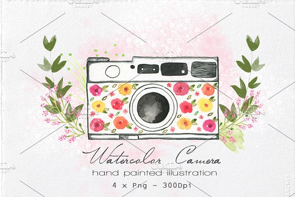 Watercolor Camera Illustration