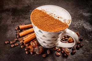 Cinnamon spiced coffee latte