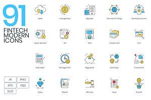 91 Fintech Modern Icons
