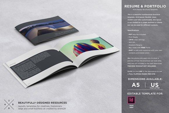 portfolio resume template brochure templates creative market