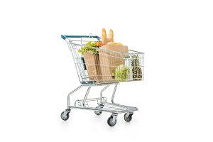shopping trolley with paper bags ful