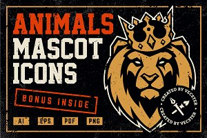 Animals Mascot Icons Vector Set -50%
