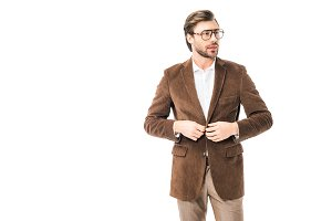 handsome male model in eyeglasses bu