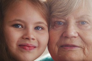 Close up portrait of grandmother and