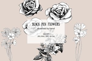 Black Pen Flowers