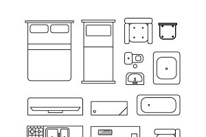 Large set of home furniture icons