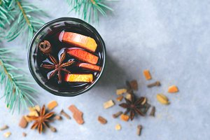 Mulled Wine, Hot Drink with Orange,