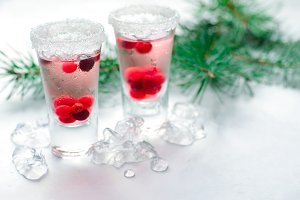 Cranberry Cocktail with Ice On White