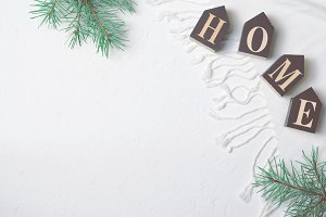 Cozy Winter Concept, Pine Branches a