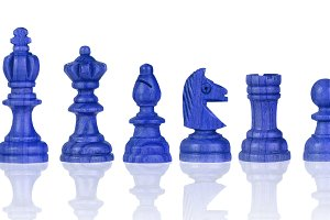 Blue chessmen Isolated on White