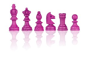 Pink chessmen Isolated on White