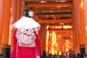 Woman dressed in traditional japanes