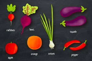Vegetables and free pattern
