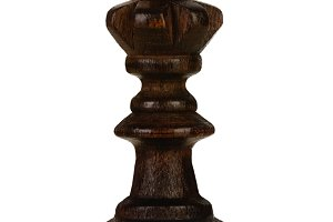 Wooden brown queen, chess piece