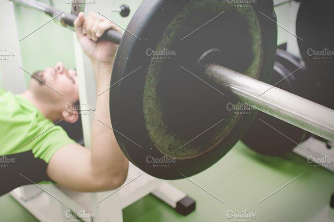 man in gym. vintage syle - Sports