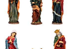 Ceramic figures for the nativity sce