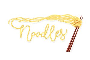 Chinese noodles at chopsticks.
