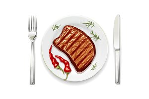 Meat steak at with fork vector