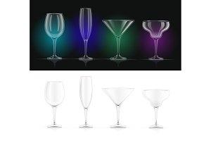Wine, champagne, martini, margarita