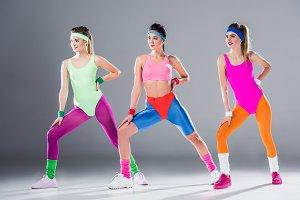 beautiful sporty young women trainin