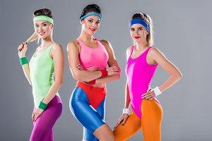 beautiful sporty young women posing
