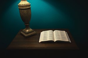 Open Bible on a nightstand