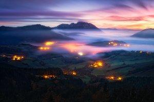 fog in Aramaio valley at night