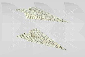 Paper plane printed. Words aeroplane
