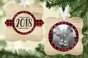 Wood & Plaid Ornament Template