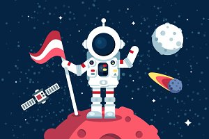 Astronaut in space suit with flag