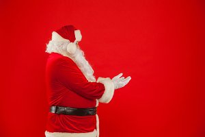 Christmas. Santa Claus pointing in