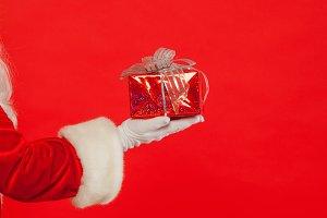 Photo of Santa Claus gloved hand