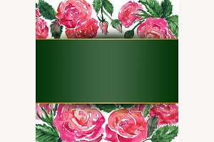 Watercolor rose peony flower frame