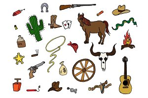 27 Wild West themed vector Doodles