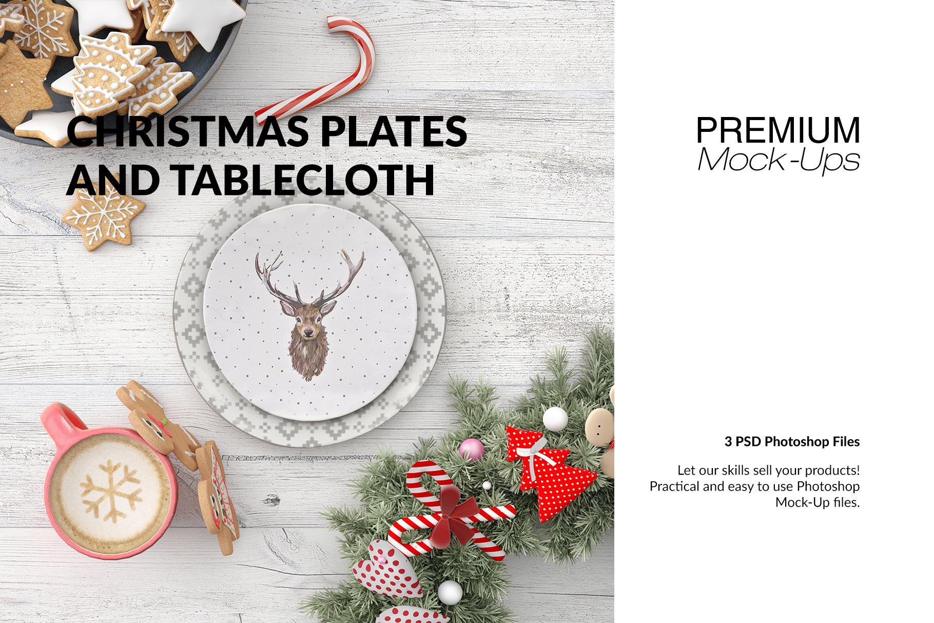 Christmas Plates & Tablecloth Set ~ Product Mockups ~ Creative Market