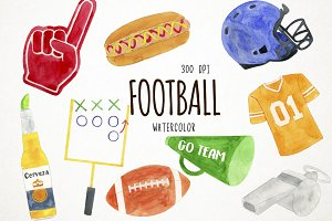 Watercolor Football Clipart