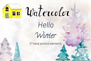 Watercolor Set Hello Winter
