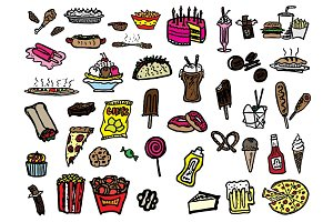 41 Hand Drawn Junk Food Doodles