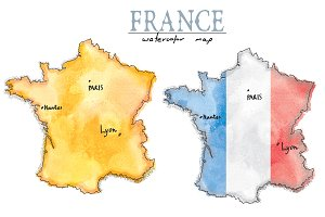France map drawn in watercolor