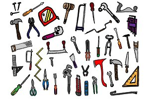 42 Hand Drawn Hand Tools Doodles