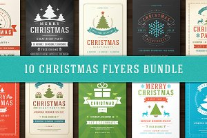 10 Christmas Party Flyers Bundle