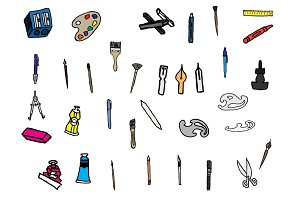 34 Hand Drawn Art Supplies Doodles