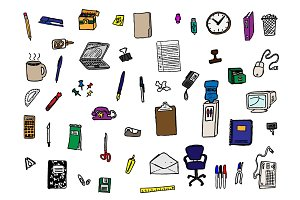 48 Hand Drawn Office Supply Doodles