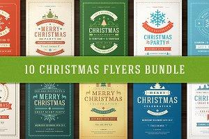 10 Christmas Party Flyers Bundle