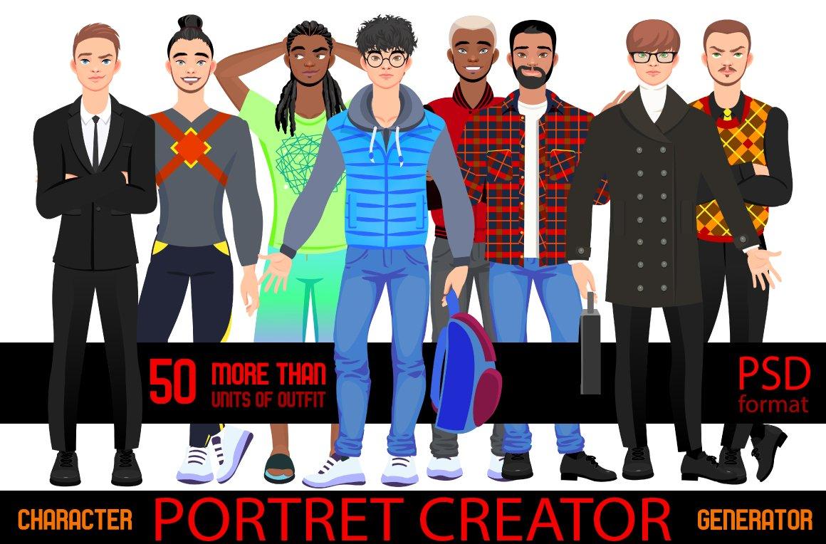 Character portrait creator MAN (PSD) ~ Illustrations