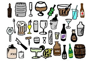 33 Hand Drawn Booze Doodles
