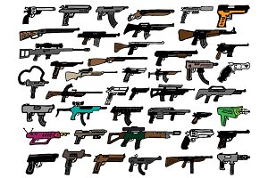 44 Hand Drawn Gun Doodles