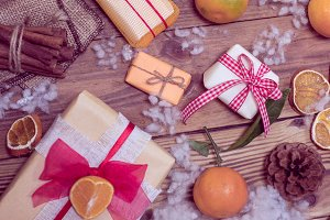 holidays gifts and tangerines