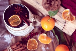 warm winter with tea and tangerines