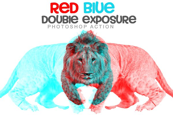 Red blue Double exposure Action